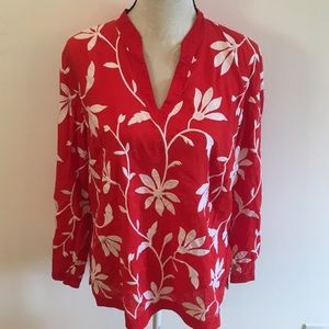 Talbots red white floral blouse size 16W